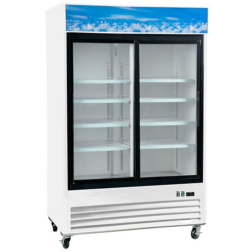 "53 1/8"" White Sliding Glass Door Merchandiser Refrigerator with LED Lighting"