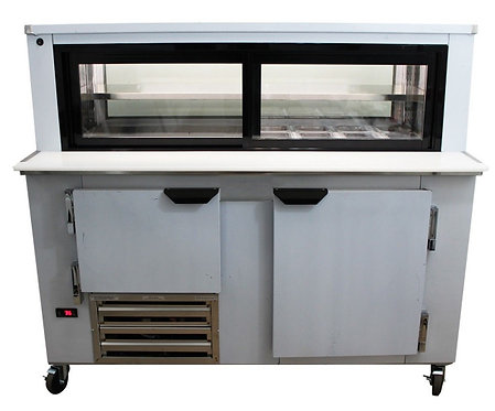 1-1/2 Door Glass Box Display Refrigerated Sandwich Prep Table 48""