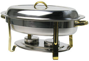 DELUXE 6 QT. OVAL GOLD ACCENT CHAFER