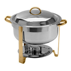 8 QT. DELUXE SOUP CHAFER GOLD ACCENT ROUND CHAFING DISH