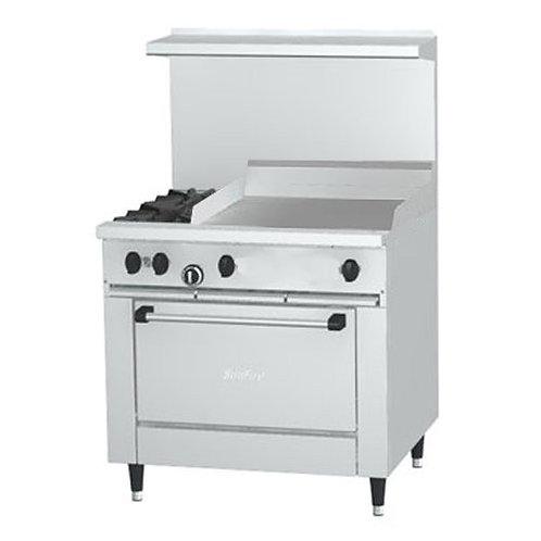 """Garland SunFire 2 Burner Gas Range w/ 24"""" Griddle and Standard Oven"""