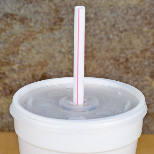 """7 3/4"""" Giant Wrapped Straw with Red Stripe - 7500 / Case"""