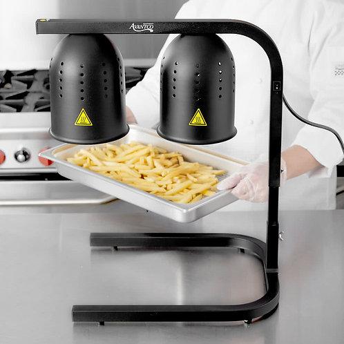 Black 2 Bulb Free Standing Heat Lamp / Food Warmer - 120V, 500W