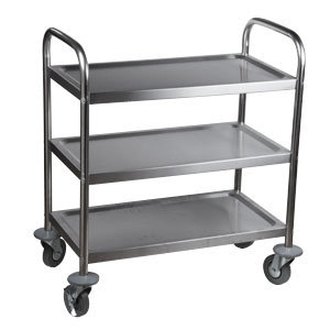 "Choice Knocked Down Stainless Steel 3 Shelf Utility Cart - 28""  Long"