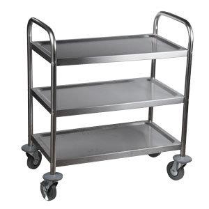 "Knocked Down Stainless Steel 3 Shelf Utility Cart - 33 3/4"" long"