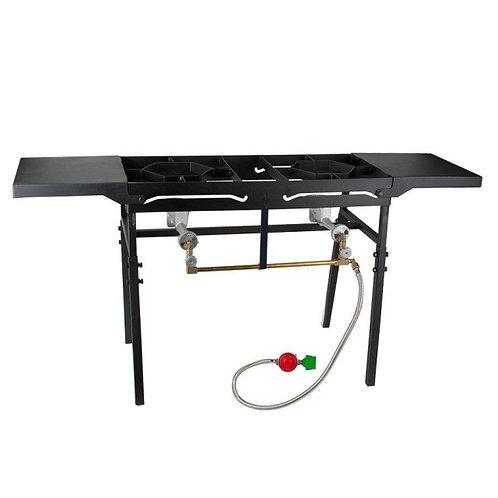 Backyard Pro Double Burner Outdoor Patio Stove / Range with Side Shelves