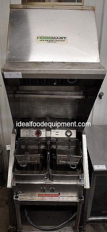 Hoodmart Ventless Grease Hood with 2 fryers