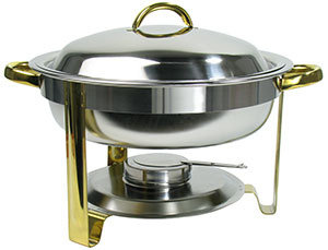 DELUXE ROUND 4 QT. GOLD ACCENT CHAFER WITH WATER PAN AND INSER