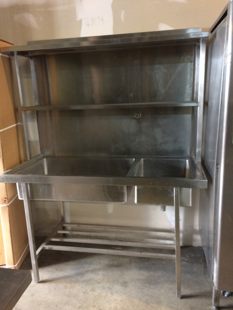 STAINLESS SINK WITH SHELVES - HEAVY DUTY - See video