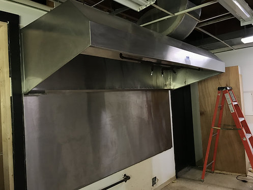 Grease vent hood - back wall - roof fan - make up air sytem & fire system - pack