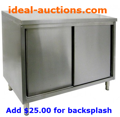 "30"" x 48"" Stainless Work Table Cabinet with or without Backsplash"