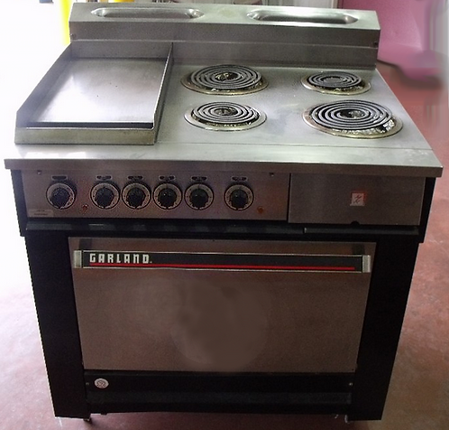 "Garalnd electric range - 4 buners - 12"" flat top grill with oven"