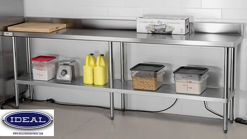 STAINLESS WORK TABLE WITH BACK SPLASH - 24 SIZES