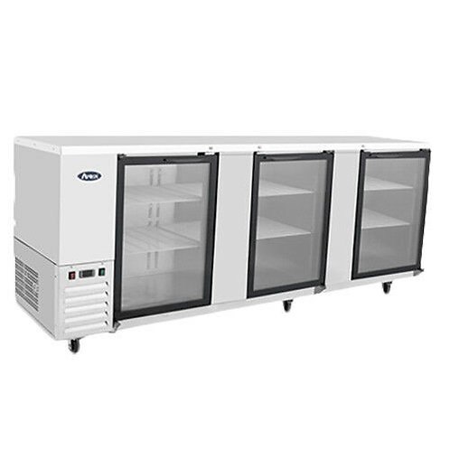 "90"" Triple Glass Door Stainless Steel Back Bar Refrigerator"