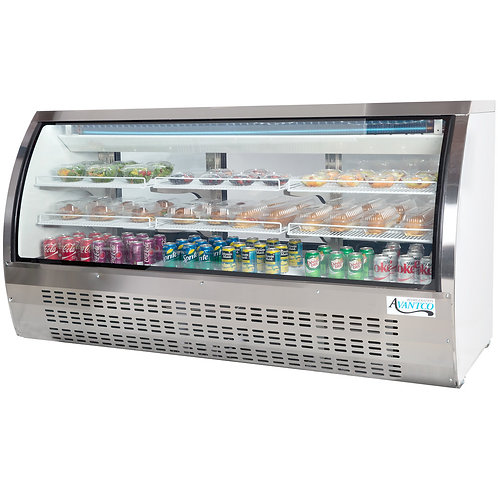 "Curved glass 82"" wide refrigerated deli case"