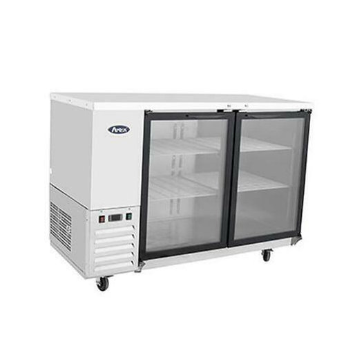 "Atosa MBB59G 58"" Double Glass Door Stainless Steel Back Bar Refrigerator"