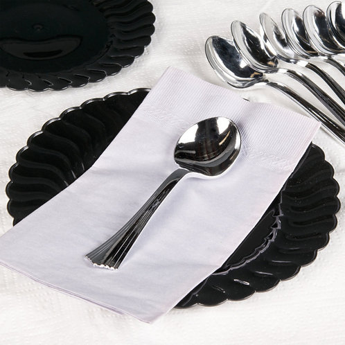 Heavy Weight Silver Plastic Flateware - Choose form Fork, Knife, Tea spoon or So