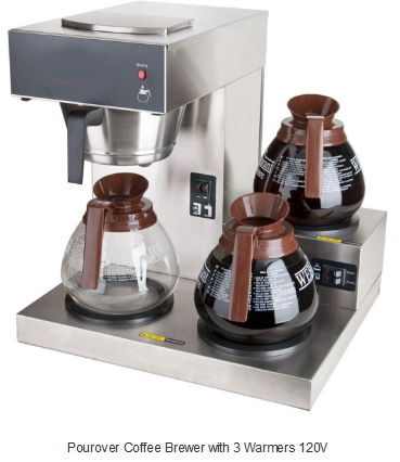 Pourover Coffee Brewer with 3 Warmers 120V