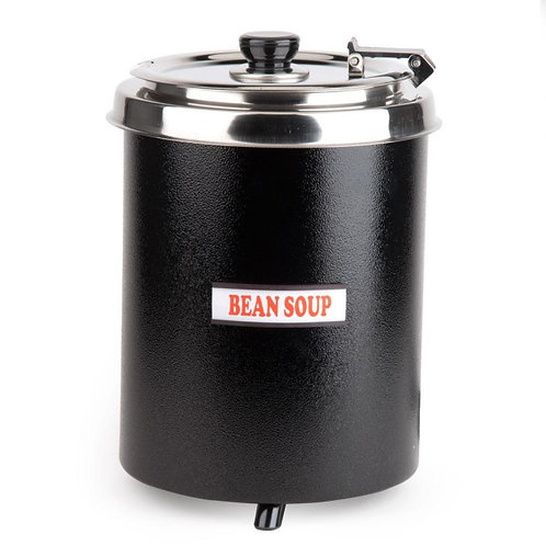 6 Qt. Round Black Countertop Food Warmer - 110V, 300W