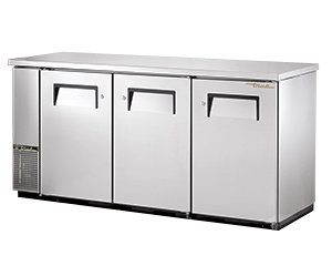 """TRUE 73"""" FOOD RATED BACK BAR COOLER STAINLESS STEEL WITH 2 SOLID DOORS - 24"""" DEE"""