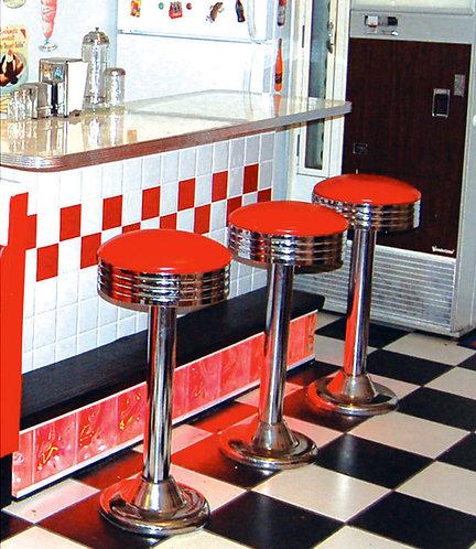 Floor Mount Stools for Ice Cream Parlor, Drug Store, Bar, with Swivel Seat
