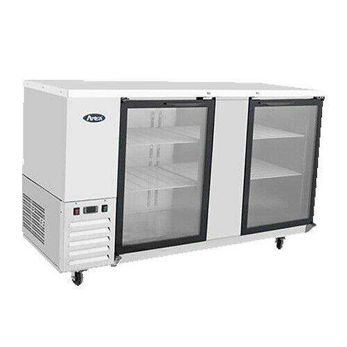 "68"" Double Glass Door Stainless Steel Back Bar Refrigerator"