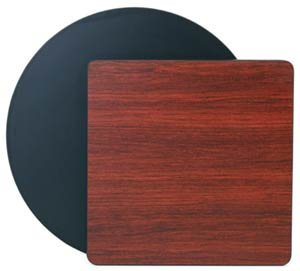 "RECTANGULAR TABLE TOP 24"" X 24"" MAHOGANY WOODGRAIN/BLACK"