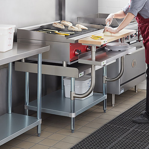 Stainless steel equipment stand with undershelf and wood cutting board - 4 sizes
