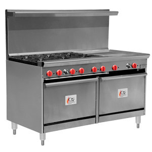 "6 BURNER GAS RANGE WITH 24"" GRIDDLE AND TWO 26 1/2"" STANDARD OVENS"