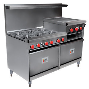 """6 BURNER GAS RANGE WITH 24"""" RAISED GRIDDLE/BROILER AND TWO 26 1/2"""" STANDARD OVEN"""