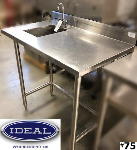 Worktable with sink and faucet