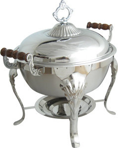 The American Metalcraft CF1 attractive wrought iron chafer stand will hold 1 ful