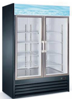 "2 DOOR UPRIGHT GLASS DOOR FREEZER 53.5"" WIDE"