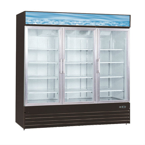 "79"" Swing Glass Door Black or White Merchandiser Refrigerator"