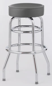BAR STOOL  - 6 COLOR CHOICE  - DOUBLE RING CHROME FRAME