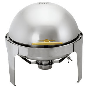 6.5 QT. SUPREME ROUND ROLL TOP GOLD TRIM CHAFER
