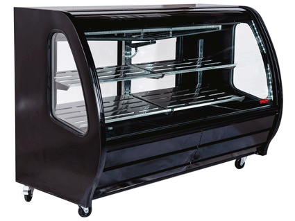 "CURVED GLASS DELI – PASTRY  MERCHANDISER 74.3"" WIDE - black, white or stainless"