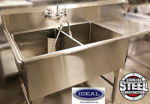 2 compartment pot sink with prerinse - taps and drainboard