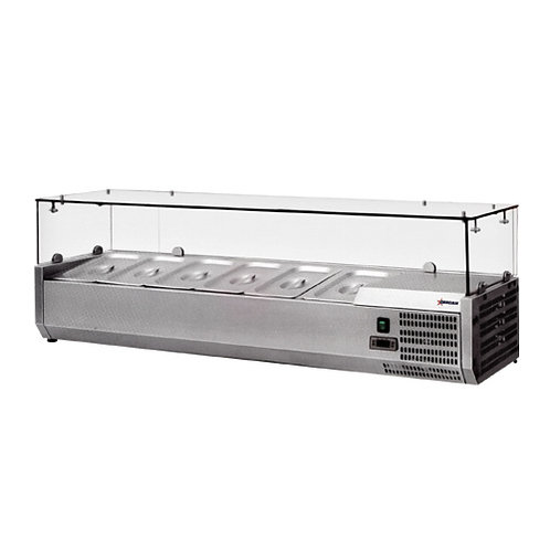 Refrigerated counter top showcase - topping rails - 4 models to choose from
