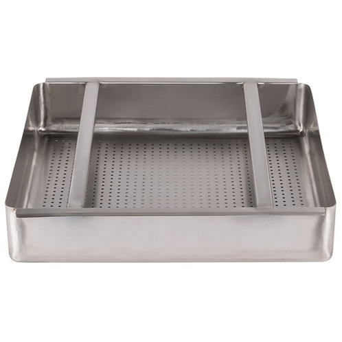 """19 1/2"""" x 19 1/2"""" x 4"""" 18-Gauge Stainless Steel Scrap / Pre-Rinse Basket with St"""