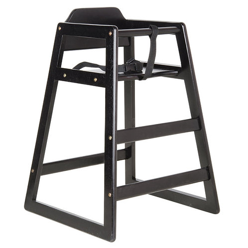 Black Stacking Restaurant Wood High Chair