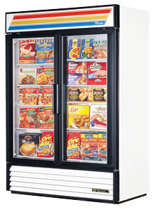 TRUE GLASS DOOR FREEZER -49 CU. FT.  BLACK - WHITE OR RED