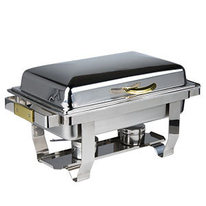 DELUXE 9 QT. FULL SIZE HINGED TOP GOLD ACCENT CHAFER