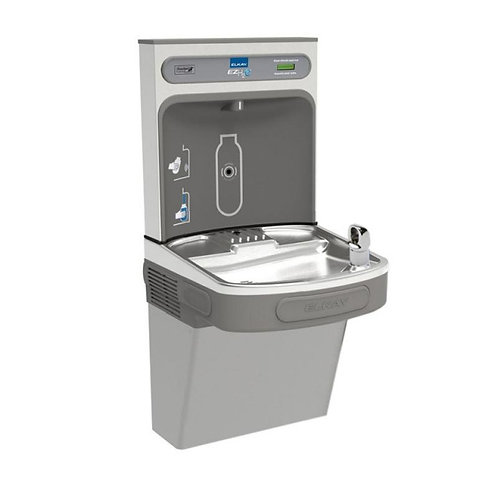 Refrigerated filtered drinking fountain with bottle filling station