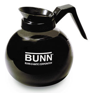 BUNN GLASS COFFEE DECANTER WITH BLACK HANDLE - 64 oz.