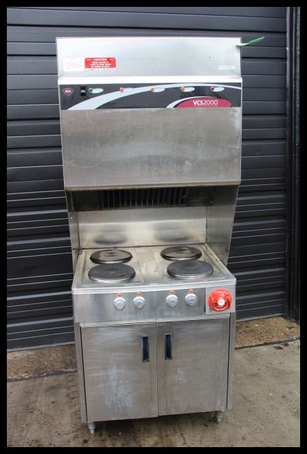 Wells ventless hood system with 4 burner cook top