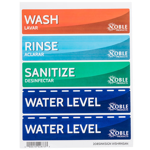 Wash, Rinse, Sanitize, and Water Level Permanent Sink Label