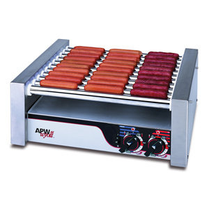 """APW WYOT NON-STICK HOT DOG ROLLER GRILL 19 1/2""""W - FLAT TOP 120V"""