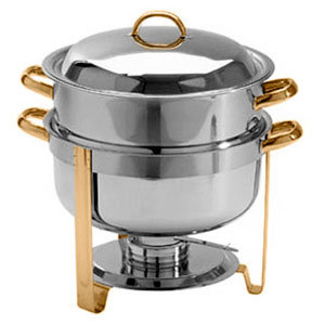 14 QT. DELUXE SOUP CHAFER GOLD ACCENT ROUND CHAFING DISH