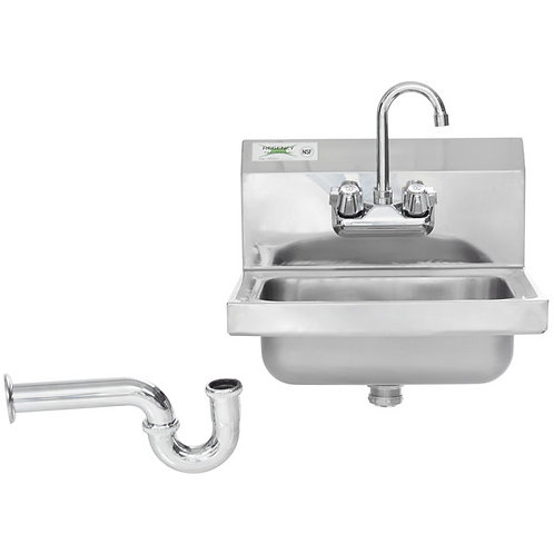 "Wall Mounted NSF Hand Sink with Gooseneck Faucet - 17"" x 15""  and P Trap"